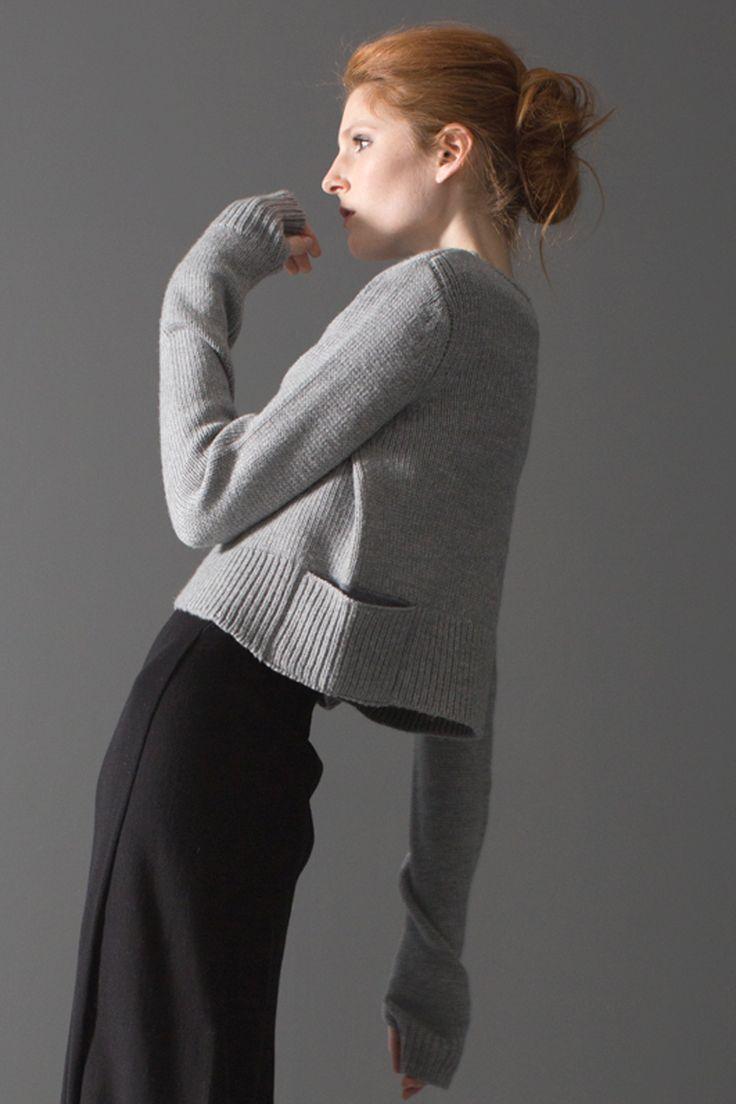 NFP fine-gauge belted a-line dress, reverse inset pullover
