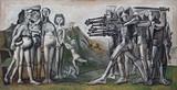 이 그림은 피카소의 <한국에서의 학살>이라는 작품입니다. 프랑스의 입체파 화가 파블로 피카소의 1951년 작품으로 한국전(6.25)당시 미군의 양민학살을 주제로 한 그림입니다. 미국군이 황해도 신천에서 수뱅명의 양민을 학살하였는바 이에 대한 기록이라고 알려져 있습니다. 미국군은 황해도 신천에서 임산부와 부녀자, 아이들을 산골짜기로 몰아넣구 집단 사살하였습니다. 이그림은 북한의 군대가 북위 38' 의 군사분계선을 넘어 서울을 점령한 후 미국이 개입하자, 거기에서 발상을 끌어내어 제작한 것입니다. 그림의 오른쪽에는 총칼을 들고 충부리를 겨눈 군인들이 서 있고, 왼쪽에는 여인들과 아이들이 공포에 떨며 서 있습니다. 군인들의 형상은 sf영화에 나오는 기계 인간과 같은 모습을 하고 있다. 그림의 구도는 인상주의 화가 마네가 그린 <막시밀리안의 처형>1867과 매우 비슷한 것 같습니다.
