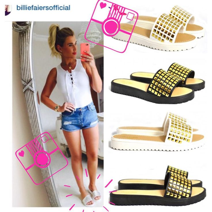 Billie Faiers in the lovely Karolina gold studded slider sandals.