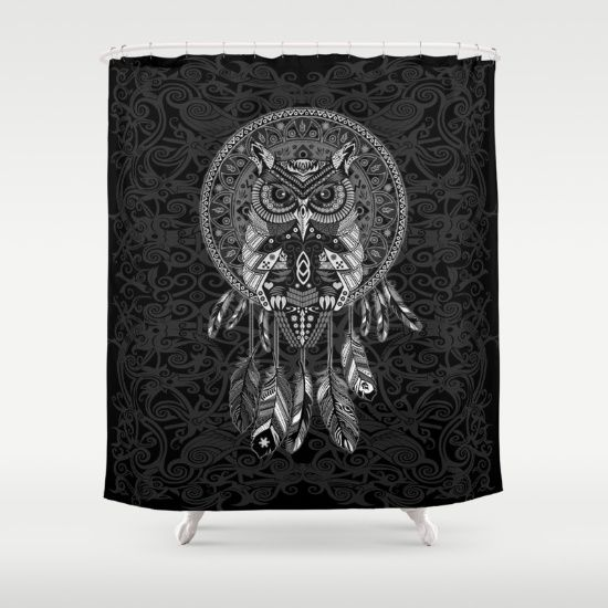 Indian Native OwL Dream Catcher SHOWER CURTAIN #ShowerCurtain #painting #drawing #inkpen #coloredpencil #pattern #black #white #popart #owl #indianchief #birds #indian #native #nativeamerican #mexicanart #dreamcatcher #tattoo