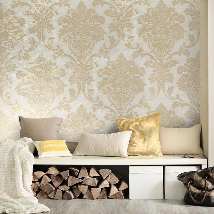 500004 Ivory Gold Beige Vintage Damask Textured Wallpaper Damask Wallpaper Living Room Gold Damask Wallpaper Wallpaper Living Room