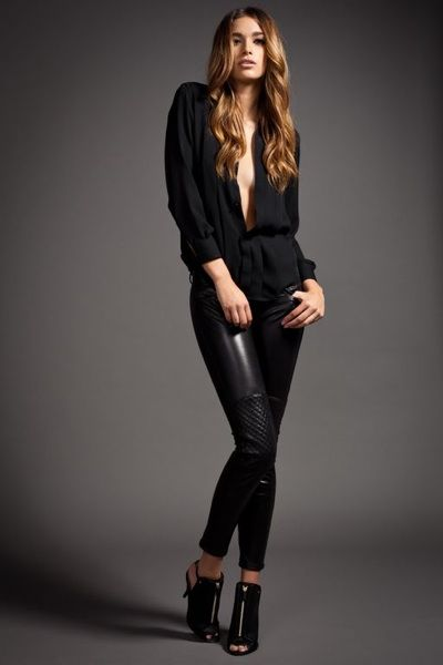 Provocative Woman: Leather Pants Trend