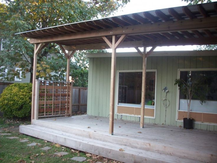 This Is A Custom Deck Roof Made Of Tight Knot Cedar And Corrugated Metal  Roofing. Metal Patio Covers ...