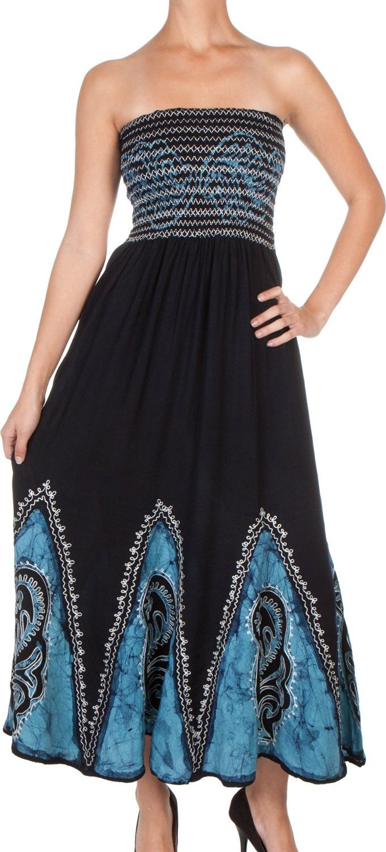 Sakkas Batik Print Embroidered Sleeveless Smocked Tube Top Long Dress