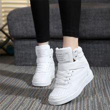 2016 primavera outono botas de salto alto tornozelo mulheres sapatos altura aumento cunhas sapata de Lona ocasional para adultos de alta-top cor misturada(China (Mainland))