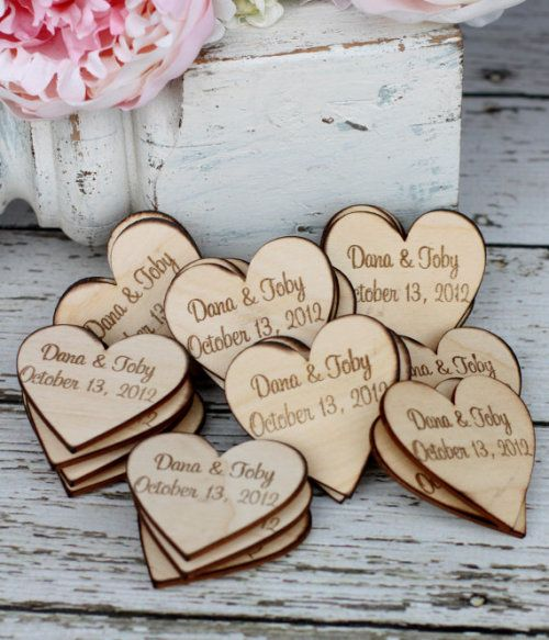 Custom Rustic Wedding Favors Wood Heart Magnets Set of 50 (item S10606)