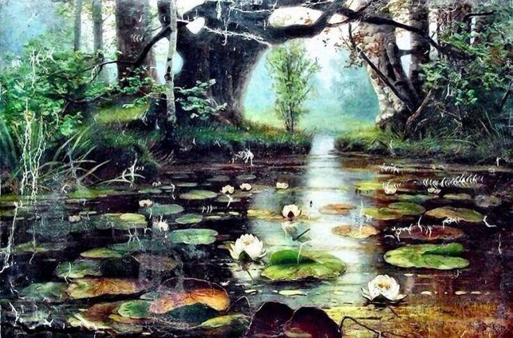 Юлий Клеверユーリー・クレーヴェル(1850ー1924)「Пруд с белыми лилиями(白い睡蓮のある池)」(1893)