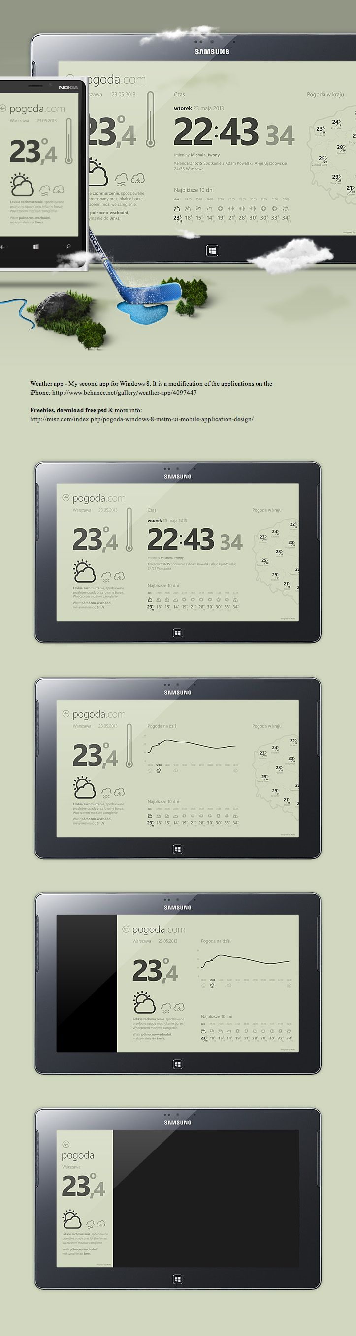 Weather, Windows 8 UI mobile application by Michal Galubinski, via Behance *** free psd & more information: http://misz.com/index.php/pogoda-windows-8-metro-ui-mobile-application-design/