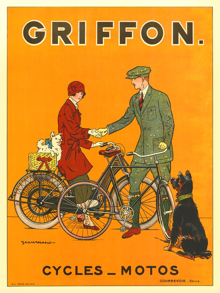 Griffon Cycles-Motos Vintage Bicycle Poster Print by Jean Matet