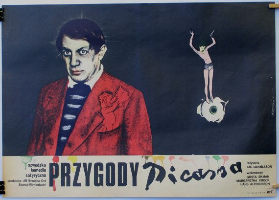 Adventures of Picasso. Original poster for the famous Swedish (1978) film. Polish poster by: Andrzej Klimowski (1979).
