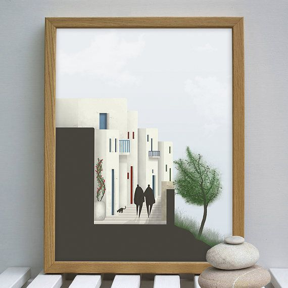 Art Print, Wall Art, Digital Art Poster, Digital Art Print, Greek islands, Road Section, Wall Decor, Cycladic Architecture,INSTANT DOWNLOAD.