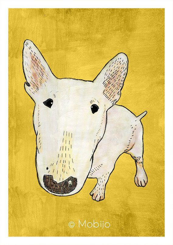 Bull terrier illustration postcard with envelope