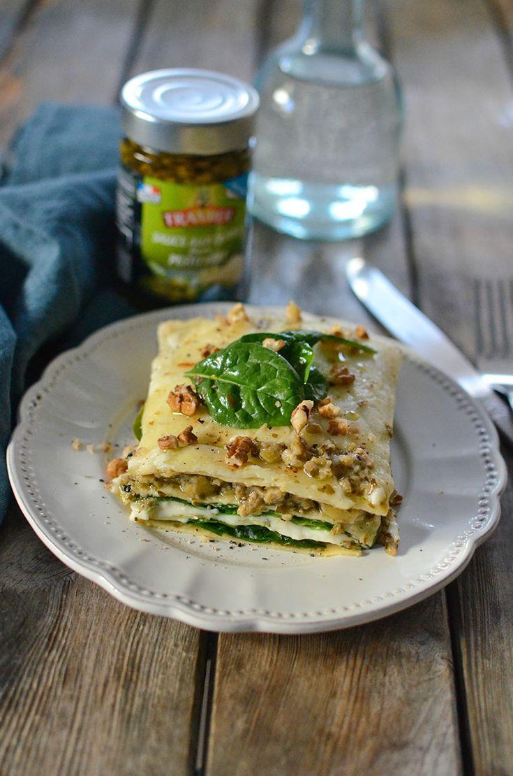 Lasagnes aux épinards et sauce aux olives façon Pesto Vert Tramier #recette #lasagnes #pasta