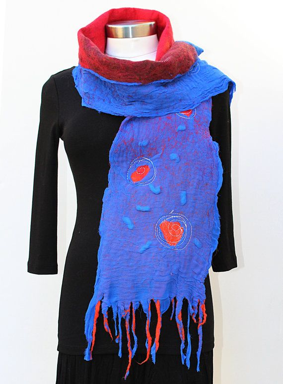 Blue,Red, Burgundy Nuno Felted  Scarf 8'X61'