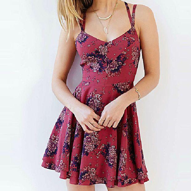 Summer Spaghetti Strip Floral Print Sun Dress