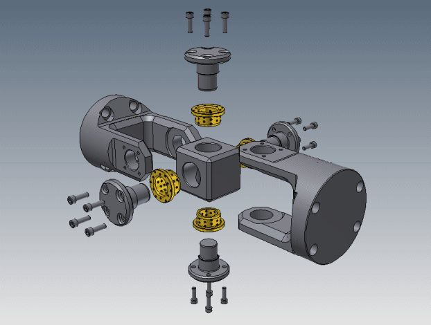 Universal Joint (Graphite Bushes) - STEP / IGES,STL,Autodesk