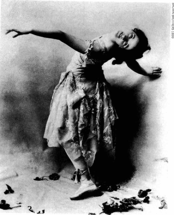 Isadora Duncan  1877-1927  The American dancer Isadora Duncan helped free ballet form its conservative restrictions through her teaching and performances and presaged the development of modern expressive dance.  She was among the first to raise interpretive dance to the status of creative art.