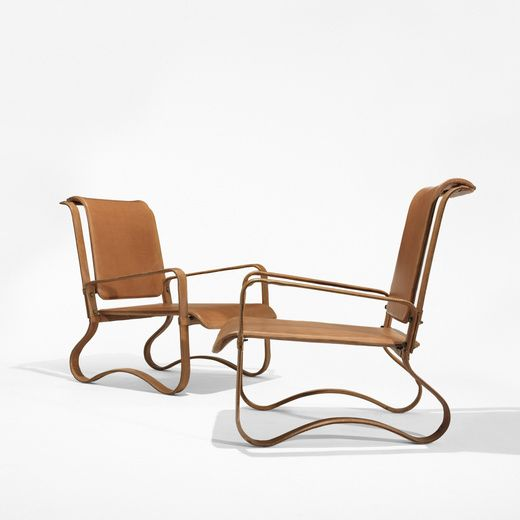 Jacques Adnet Lounge Chairs Pair France C 1950 Leather Over