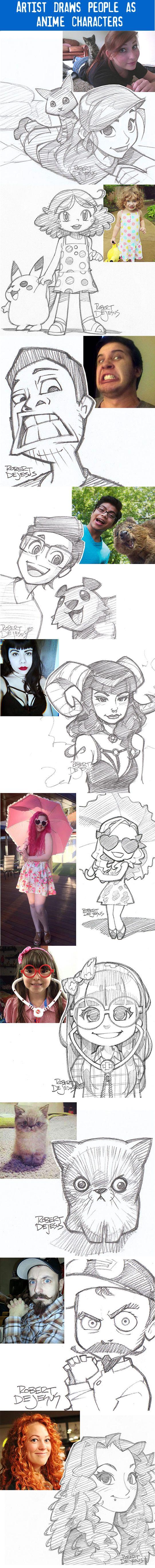 'Artist Robert Dejesus draws strangers as anime/manga characters....' Awesome!