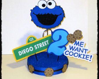 cookie monster party theme | Cookie Monster Party Centro de Mesa Personalizado con Nombre ...