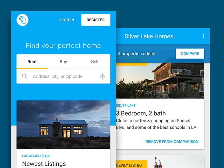 Clean mobile design for real estate listings and comparison