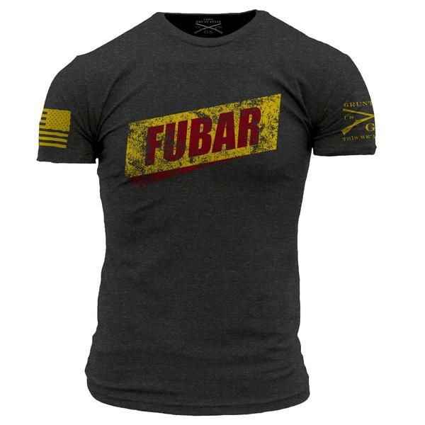 BACKORDERED ITEM ALL SIZES ARE ESTIMATED TO START SHIPPING ON 5/30 There is only way to to describe the situation...FUBAR. Grunt Style's FUBAR shirt is a soft and comfortable charcoal men's tee that is made out of 60% cotton and 40% polyester.