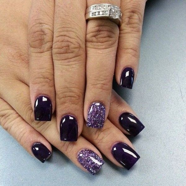 Dark Purple and Glitter Nail Designs.