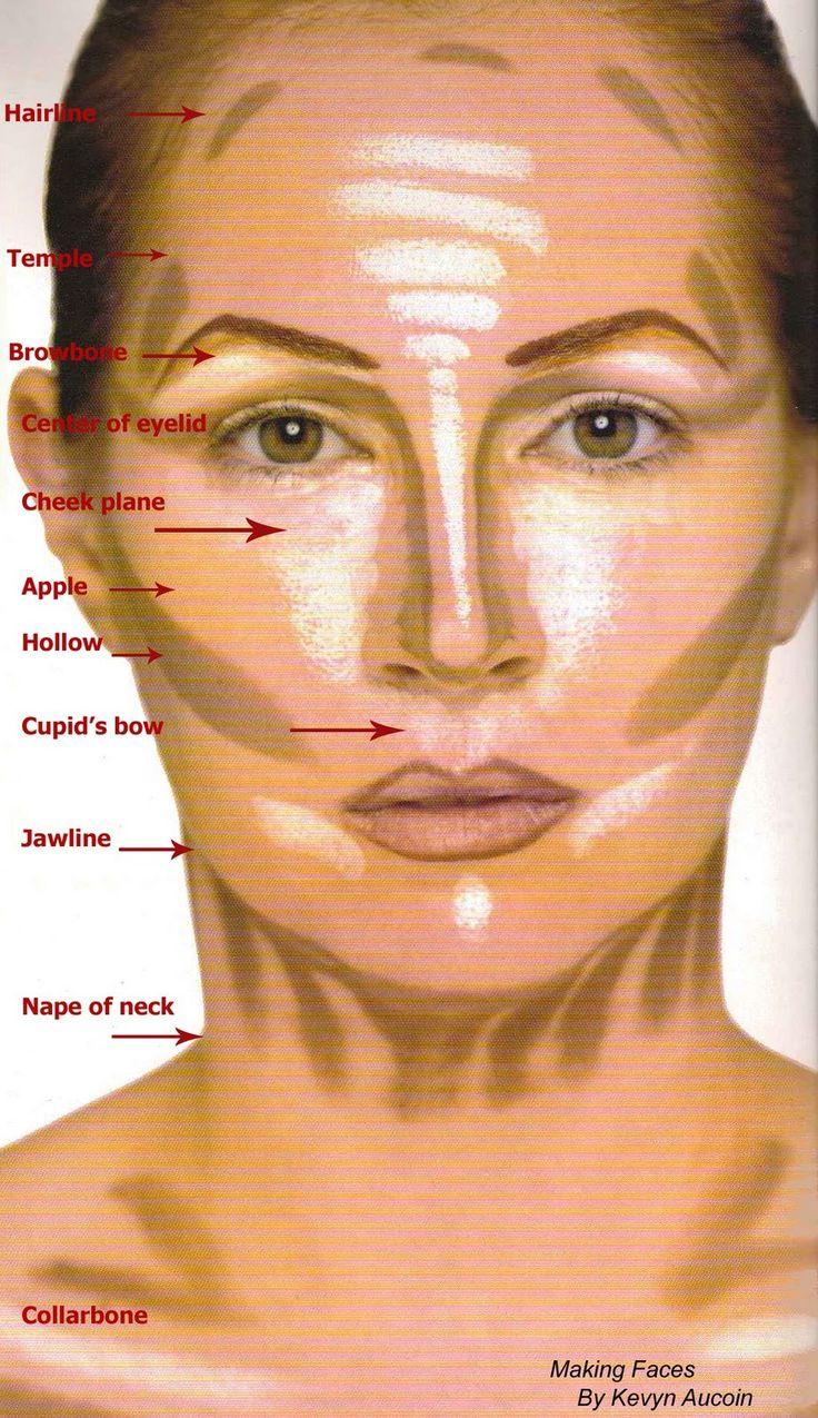 Il colore più scuro per realizzare il contouring consente all'area interessata di recedere ridimensionando doppio mento ,mascella quadrata… Va applicato:  - sotto gli zigomi, partendo dall'inizio dell'orecchio e sfumando fino alle labbra  - sulle tempie  -lungo l'attaccatura dei capelli  - sotto il mento  - lungo la mandibola  - lungo i lati del naso