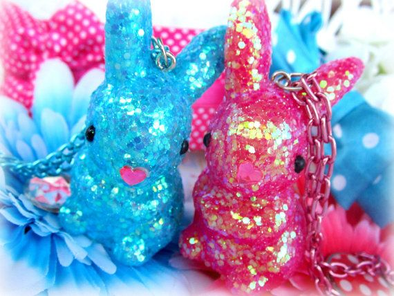 Glitter easter bunny necklace on matching by Sugarbunnies379, $8.99