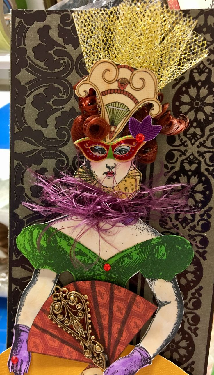 Masquerade Ball Tag Swap using Character Constructions stamps. March 2017. Artist: Cathy Arnold