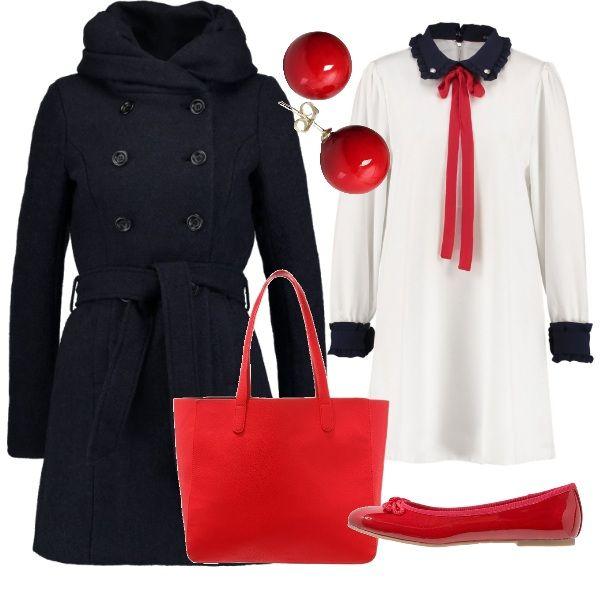 Un vestito bianco con colletto blu e fiocco rosso indossato con le ballerine dona l'idea dei tempi della scuola. Si possono abbinare una borsa a mano rossa, come gli orecchini e un cappotto con bottoni e cintura annodata in vita.