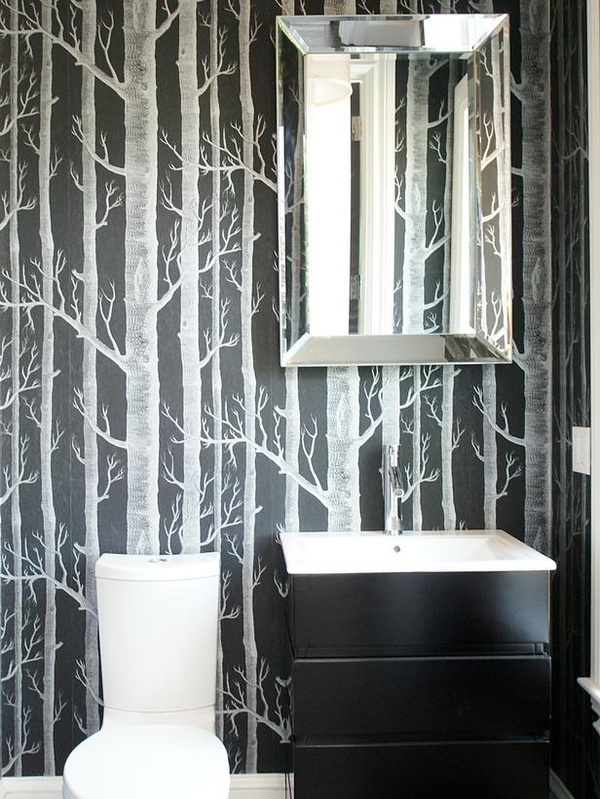 Black & White Wallpaper in a small bathroom