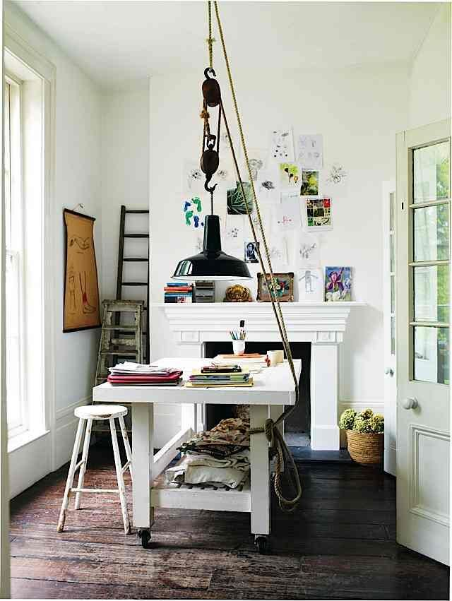 studio with oversized lamp on a pulley