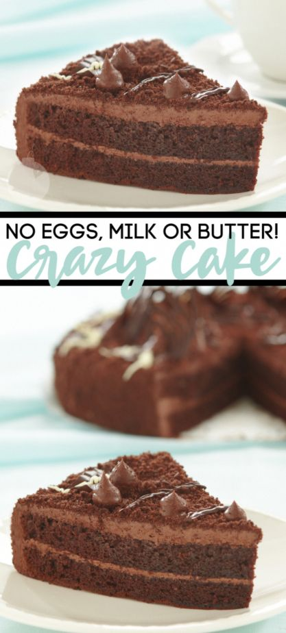 This crazy cake is chocolate cake made with no eggs, milk, or butter. It's crazy…   – chocolate cake recipes