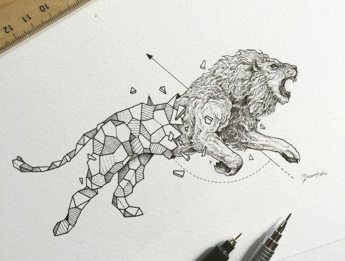 Zodiaque lion tatouage de lion pectoraux lion god tattoo