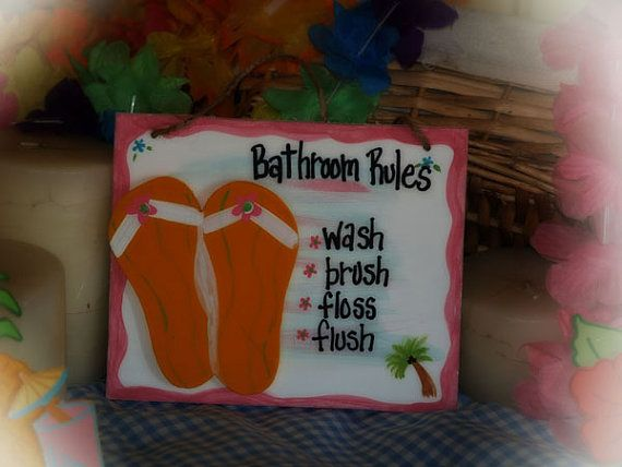 Bathroom Rules Tropical Door Beach WIPE FLIP FLOPS Aloha Door