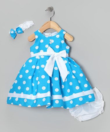 Take a look at this Blue Giant Polka Dot Dress Set - Infant by Shanil on #zulily today!