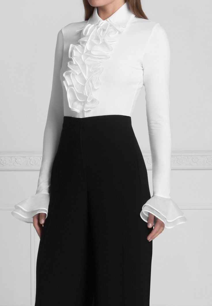 Double Collar Pima Blouse with Ruffle and double Cuff: Patsy | Anne Fontaine