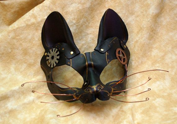 Black and Violet Leather Steampunk Cat Dinah Alice in Wonderland Inspired Cosplay Masquerade Cat Mask