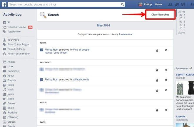 Mit nur zwei Klicks: Facebook-Suchverlauf löschen