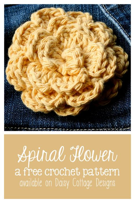 Free spiral flower crochet pattern. Quick and easy flower pattern from Daisy Cottage Designs.
