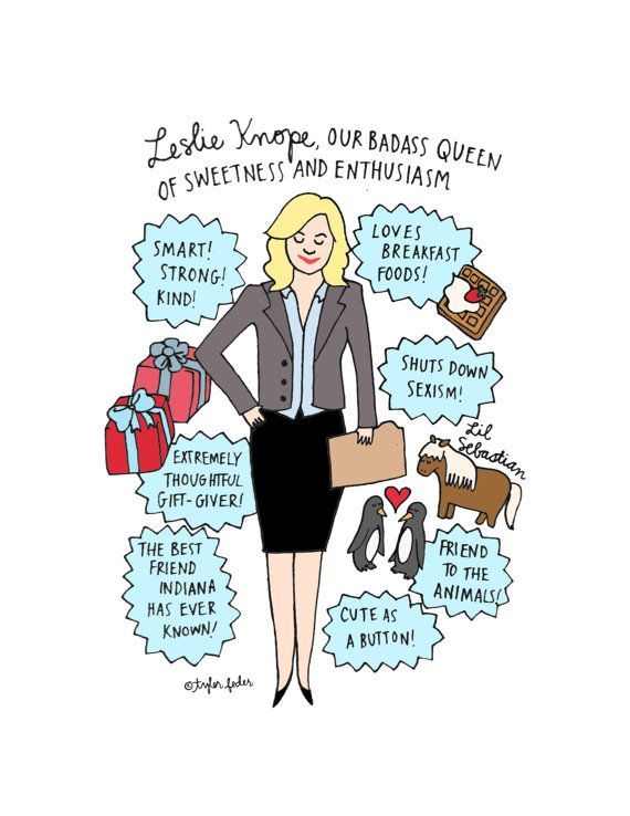 Leslie Knope Print  5x7  HandIllustrated by roaringsoftly on Etsy, $10.00