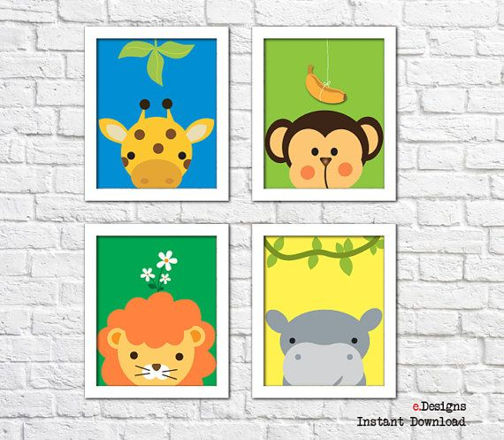 Printable Nursery Peek-a-Boo Wall Art Set of 4 Jungle by eDesignss
