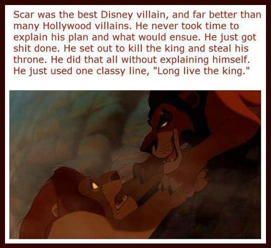 Well he did describe his plan to the hyenas. But he never wasted time explaining to everyone else.