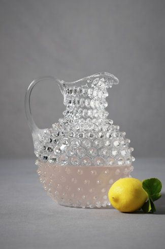 glass pitcher: Decor, Punch Bowls, Tacketi Pitcher, Wedding Receptions, Hobnail Glasses, Receptions Ideas, Glasses Pitcher, Traditional Wedding, Pink Lemonade