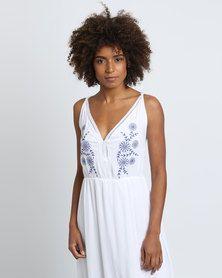 Utopia Maxi Dress With Embroidery White/Blue