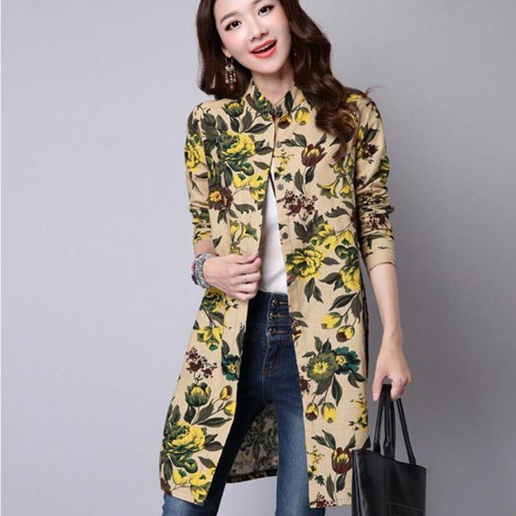 2017 vintage women clothing parte larga de manga larga camisa casual de algodón de impresión superior flojamente más la camisa de la blusa camisas mujer en Blusas y Camisas de Ropa y Accesorios de las mujeres en AliExpress.com | Alibaba Group