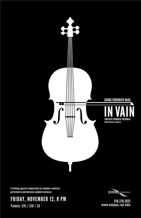 In Vain Concert Posters - Marguerite Roth,  simplistic concert poster. love the placement of type around the violin.