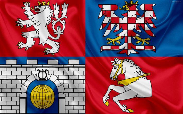 Download wallpapers Flag of Pardubice Region, silk flag, 4k, official symbols, flags of administrative units, Czech Republic, Pardubice Region