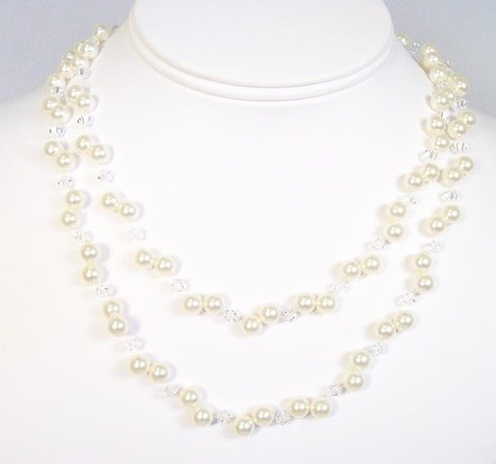Cream & Crystal Layered Necklace, Pearls crystals, illusion floating bridal wedding, ivory, light, soft white, off white, diamond white Might be able to make this?